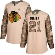Wholesale Cheap Adidas Blackhawks #21 Stan Mikita Camo Authentic 2017 Veterans Day Stitched NHL Jersey
