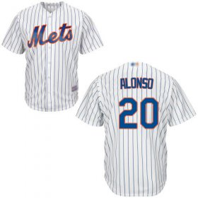 Wholesale Cheap Mets #20 Pete Alonso White(Blue Strip) New Cool Base Stitched MLB Jersey