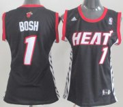 Wholesale Cheap Miami Heat #1 Chris Bosh Black Womens Jersey