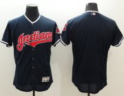 Wholesale Cheap Indians Blank Navy Blue Flexbase Authentic Collection Stitched MLB Jersey