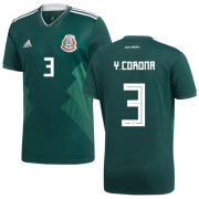 Wholesale Cheap Mexico #3 Y.Corona Green Home Soccer Country Jersey