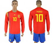 Wholesale Cheap Spain #10 Thiago Red Home Long Sleeves Soccer Country Jersey