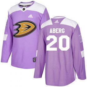 Wholesale Cheap Adidas Ducks #20 Pontus Aberg Purple Authentic Fights Cancer Stitched NHL Jersey