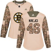 Wholesale Cheap Adidas Bruins #46 David Krejci Camo Authentic 2017 Veterans Day Women's Stitched NHL Jersey