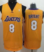 Wholesale Cheap Los Angeles Lakers #8 Kobe Bryant Yellow Swingman Jersey