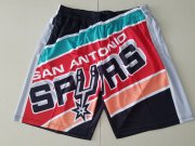 Wholesale Cheap Men's San Antonio Spurs Black Big Face Mitchell Ness Hardwood Classics Soul Swingman Throwback Shorts
