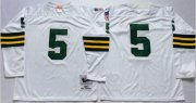 Wholesale Cheap Mitchell And Ness 1961 Packers #5 Paul Hornung White Throwback Stitched NFL Jersey
