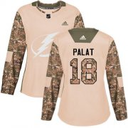 Cheap Adidas Lightning #18 Ondrej Palat Camo Authentic 2017 Veterans Day Women's Stitched NHL Jersey