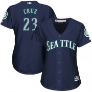 Wholesale Cheap Mariners #23 Nelson Cruz Navy Blue Alternate Women's Stitched MLB Jersey