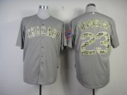 Wholesale Cubs #23 Ryne Sandberg Grey USMC Cool Base Stitched Baseball Jersey