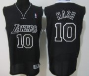 Wholesale Cheap Los Angeles Lakers #10 Steve Nash Black With Black Authentic Jersey