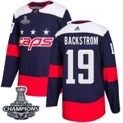 Wholesale Cheap Adidas Capitals #19 Nicklas Backstrom Navy Authentic 2018 Stadium Series Stanley Cup Final Champions Stitched Youth NHL Jersey