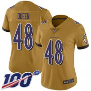 Wholesale Cheap Nike Ravens #48 Patrick Queen Gold Women's Stitched NFL Limited Inverted Legend 100th Season Jersey