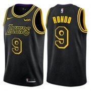 Wholesale Cheap Nike Los Angeles Lakers #9 Rajon Rondo Black NBA Swingman City Edition Jersey