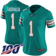 Wholesale Cheap Nike Dolphins #1 Tua Tagovailoa Aqua Green Alternate Women's Stitched NFL 100th Season Vapor Untouchable Limited Jersey