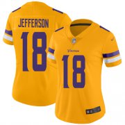Wholesale Cheap Nike Vikings #18 Justin Jefferson Gold Women's Stitched NFL Limited Inverted Legend Jersey