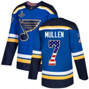 Wholesale Cheap Adidas Blues #7 Joe Mullen Blue Home Authentic USA Flag Stanley Cup Champions Stitched NHL Jersey