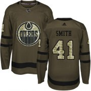 Wholesale Cheap Adidas Oilers #41 Mike Smith Green Salute to Service Stitched Youth NHL Jersey