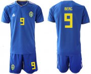 Wholesale Cheap Sweden #9 Berg Away Soccer Country Jersey