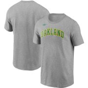 Wholesale Cheap Oakland Athletics Nike Cooperstown Collection Wordmark T-Shirt Heathered Gray