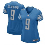 Wholesale Cheap Nike Lions #9 Matthew Stafford Light Blue Team Color Women's Stitched NFL Elite Jersey