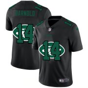 Wholesale Cheap New York Jets #14 Sam Darnold Men's Nike Team Logo Dual Overlap Limited NFL Jersey Black