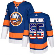 Wholesale Cheap Adidas Islanders #55 Johnny Boychuk Royal Blue Home Authentic USA Flag Stitched Youth NHL Jersey