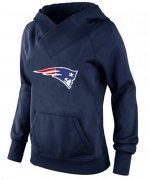 Wholesale Cheap Women's New England Patriots Logo Pullover Hoodie Navy Blue