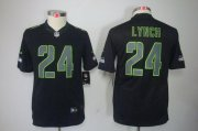 Wholesale Cheap Nike Seahawks #24 Marshawn Lynch Black Impact Youth Stitched NFL Limited Jersey
