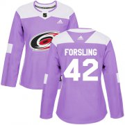 Wholesale Cheap Adidas Hurricanes #42 Gustav Forsling Purple Authentic Fights Cancer Women's Stitched NHL Jersey