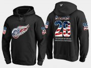 Wholesale Cheap Red Wings #28 Luke Witkowski NHL Banner Wave Usa Flag Black Hoodie