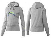 Wholesale Cheap Women's Los Angeles Chargers Logo Pullover Hoodie Grey