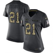 Wholesale Cheap Nike Cowboys #21 Ezekiel Elliott Black Women's Stitched NFL Limited 2016 Salute to Service Jersey