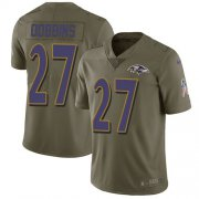 Wholesale Cheap Nike Ravens #27 J.K. Dobbins Olive Youth Stitched NFL Limited 2017 Salute To Service Jersey