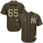 Wholesale Cheap Yankees #65 James Paxton Green Salute to Service Stitched Youth MLB Jersey
