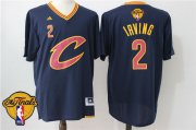 Wholesale Cheap Men's Cleveland Cavaliers Kyrie Irving #2 2017 The NBA Finals Patch New Navy Blue Short-Sleeved Jersey