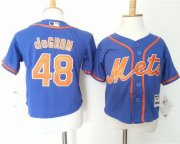 Wholesale Cheap Toddler Mets #48 Jacob DeGrom Blue Alternate Home Cool Base Stitched MLB Jersey