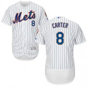 Wholesale Cheap Mets #8 Gary Carter White(Blue Strip) Flexbase Authentic Collection Stitched MLB Jersey