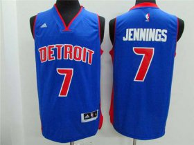 Wholesale Cheap Men\'s Detroit Pistons #7 Brandon Jennings Revolution 30 Swingman 2014 New Blue Jersey
