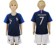 Wholesale Cheap France #7 Griezmann Home Kid Soccer Country Jersey