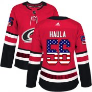 Wholesale Cheap Adidas Hurricanes #56 Erik Haula Red Home Authentic USA Flag Women's Stitched NHL Jersey
