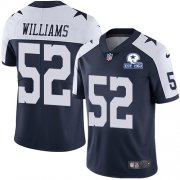Wholesale Cheap Nike Cowboys #52 Connor Williams Navy Blue Thanksgiving Men's Stitched With Established In 1960 Patch NFL Vapor Untouchable Limited Throwback Jersey