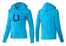 Wholesale Cheap Women\'s Indianapolis Colts Logo Pullover Hoodie Light Blue