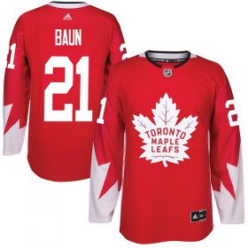Wholesale Cheap Adidas Maple Leafs #21 Bobby Baun Red Team Canada Authentic Stitched NHL Jersey