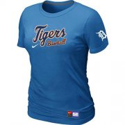 Wholesale Cheap Women's Detroit Tigers Nike Short Sleeve Practice MLB T-Shirt Indigo Blue
