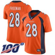 Wholesale Cheap Nike Broncos #28 Royce Freeman Orange Men's Stitched NFL 100th Season Vapor Limited Jersey