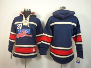 Wholesale Cheap Olympic Team USA Blank Navy Blue Throwback Sawyer Hooded Sweatshirt Stitched NHL Jersey