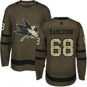 Wholesale Cheap Adidas Sharks #68 Melker Karlsson Green Salute to Service Stitched Youth NHL Jersey