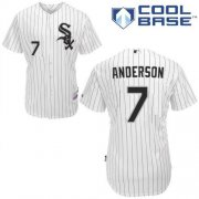 Wholesale Cheap White Sox #7 Tim Anderson White(Black Strip) Home Cool Base Stitched Youth MLB Jersey