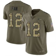Wholesale Cheap Nike Seahawks #12 Fan Olive/Camo Men's Stitched NFL Limited 2017 Salute To Service Jersey